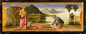 Davide Ghirlandaio - Archangel Raphael and Tobit and the dog.