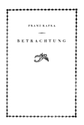 Franz Kafka: Betrachtung