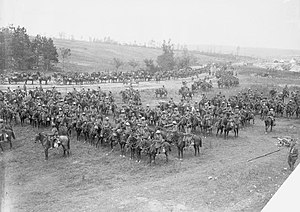 2nd Indian Cavalry Division - Battle of Bazentin Ridge, Battle of the Somme: the 20th Deccan Horse drawn up in ranks in the Carnoy Valley waiting for the opportunity to attack.