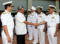 Defence Manohar Parrikar greets Vice Admiral Sunil Lanba at the Naval Commanders' Conference 2015.JPG