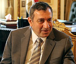 Defense.gov News Photo 110323-D-XH843-004 - Secretary of Defense Robert M. Gates meets with Egyptian Prime Minister Essam Sharaf in Cairo, Egypt, on March 23, 2011 (cropped).jpg