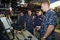 Defense.gov News Photo 111117-D-BW835-010 - Secretary of Defense Leon E. Panetta watches as an officer from the USS Mississippi demonstrates a piece of equipment aboard the submarine in.jpg