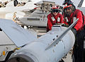 Defense.gov News Photo 120216-N-KQ416-342 - U.S. Navy aviation ordnancemen move ordnance on the flight deck of the aircraft carrier USS Abraham Lincoln CVN 72 while in the Arabian Sea on Feb.jpg