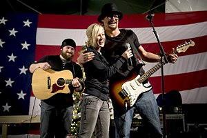 a2064bd10 Kid Rock performing for the USO with Kellie Pickler and Zac Brown in 2008.
