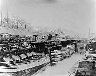 Delaware and Hudson Canal - Barges awaiting coal loads at Honesdale.