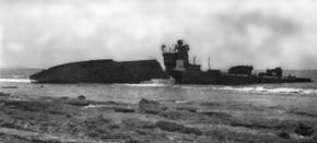 Destroyed Japanese patrol boat wake.jpg