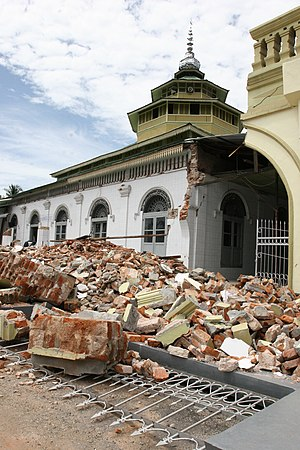 Ganting Grand Mosque - Some of the destruction caused to the mosque after the 2009 Sumatra earthquakes