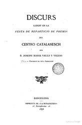 Discurs llegit en la festa de repartició de premis del Centro Catalanesch