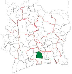 Location in Ivory Coast. Divo Department has had these boundaries since 2009.