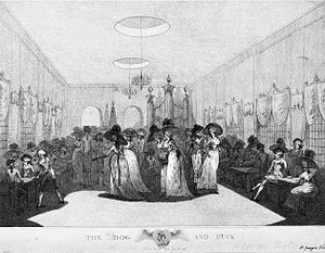 Dog and Duck, St George's Fields - Interior of the Long Room of the Dog and Duck, probably 1789