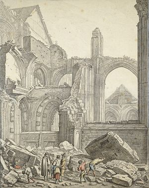 Herman Saftleven - Herman Saftleven, artwork done for the book De Dom in Puin by Saftleven Graafhuis, documenting storm damage in the city of Utrecht
