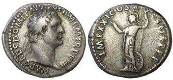 Silver denarius of the Roman Emperor Domitian dated c. 90 AD