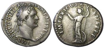 Zilveren denarius van de Romeinse keizer Domitianus gedateerd c.  90 na Christus