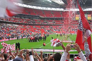 Doncaster Rovers F.C. - Doncaster Rovers celebrate victory against Leeds United in the Football League One play-off final on 25 May 2008 at Wembley Stadium.