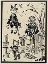 Denslow's drawing of scarecrow hung up on pole and helpless, from first edition of book, 1900