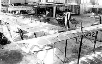"Dorr Field -  Curtiss JN-4 ""Jennys"" inside a hangar at Dorr Field, Florida, 1918."