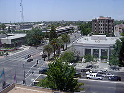 Downtown Bakersfield in June 2003, with City Hall and Police Headquarters on the left and Hall of Records on the right.