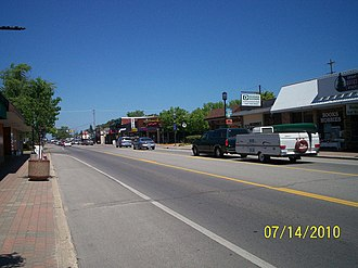 Oscoda, Michigan - Downtown Oscoda, looking northbound on US-23