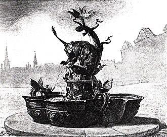 Dragon Fountain, Copenhagen - Rendering by Bindesbøll and Skovgaard