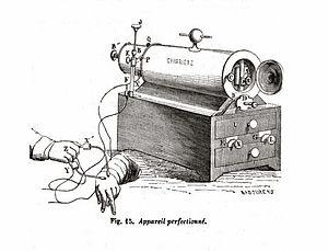 """Duchenne de Boulogne - Woodcut illustration of Duchenne's """"appareil volta-électrique."""""""