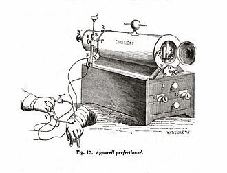 A Clinical Lesson at the Salpêtrière - Electrotherapeutic device invented by Charcot's teacher, Guillaume Duchenne (1806-1875).