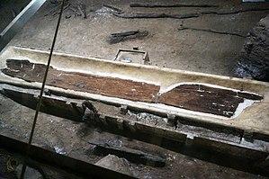 Kuahuqiao site - Dugout Canoe Excavated at Kuahuqiao Site.