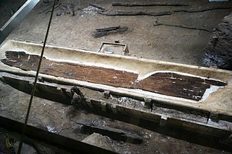 Dugout canoe - Remains of an 8000-year-old dugout excavated in China