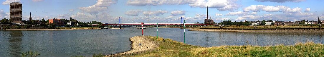 Место впадения Рура в Рейн (панорама). Вид на мост им. Фридриха Эберта