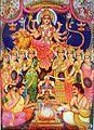 Durga presides over a Vedic fire sacrifice (bazaar art, c.1950's).jpg