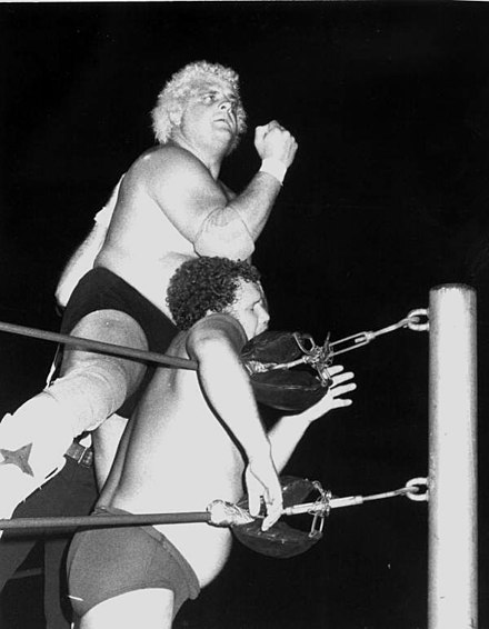 Rhodes battling Harley Race at an NWA event Dusty Rhodes Bionic Elbow.jpg