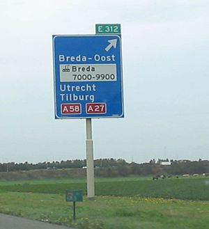 A27 motorway (Netherlands) - Reference to A58 and A27 on the A16.