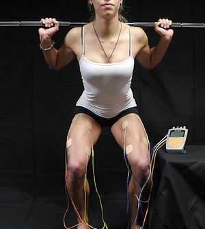 Electrical muscle stimulation - Athlete squatting with four-channel, electrical muscle stimulation machine for training, attached through self-adhesive pads to her quadriceps.