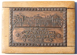 Kadriorg Stadium - The plaquette made for the festive opening of the Estonian Central Sports Union's Kadriorg Stadium in Tallinn, Estonia, on 13th of June 1926. Author: Roman Tavast.