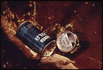 Aluminum can - Discarded aluminum beverage cans marked with five-cent refund labeling per the Oregon Bottle Bill, early 1970s