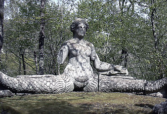 Echidna (mythology) - Echidna. Sculpture by Pirro Ligorio 1555, Parco dei Mostri (Monster Park), Lazio, Italy.