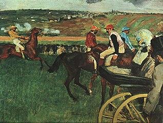 Le champ de courses. Jockeys amateurs près d'une voiture