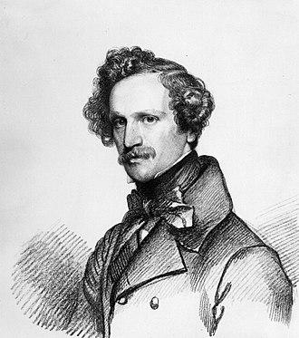 Eduard Bendemann - Portrait of Bendemann by Carl Christian Vogel von Vogelstein, chalk on paper, 1838