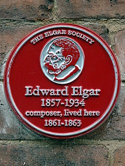 Photo of Edward Elgar red plaque
