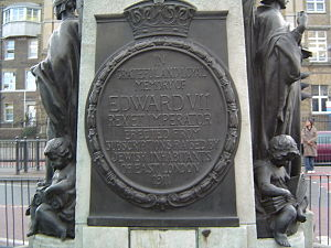 Edward VII plaque at Whitechapel Market, Londo...