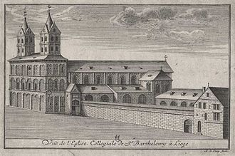 Collegiate Church of St. Bartholomew - Engraving of the building from 1735
