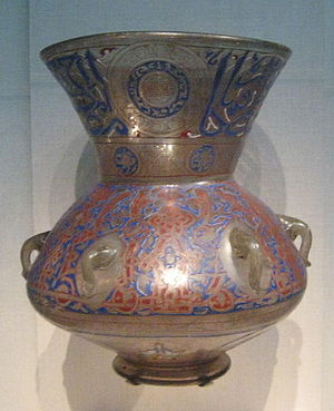 Islamic glass - Egyptian mosque lamp, 1360.