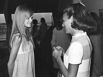 Eileen Ford - Ms. Ford (right) discussing with a Finnish model in 1967.