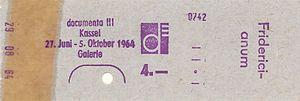 Documenta III - ticket documenta III 29 08 1964