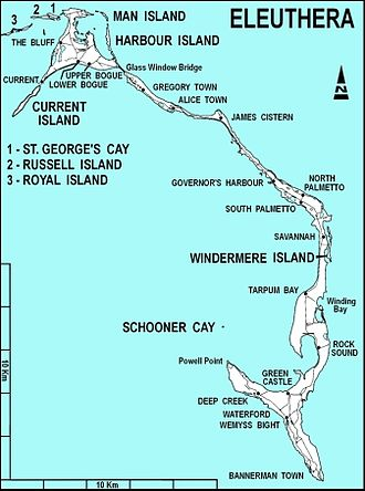 Eleuthera - Map showing showing the main island of Eleuthera and its associated smaller islands (Russel, Royal, Harbour, and Windermere Islands and associated Cays), other geographical features, and concentrations of population. By Joachim Greiner, 2009.