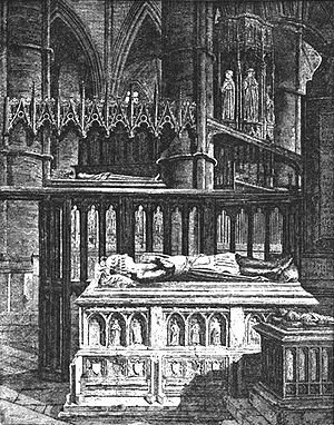 John of Eltham, Earl of Cornwall - Alabaster-carved tomb of John of Eltham at Westminster Abbey