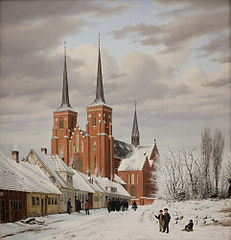Street in Roskilde. In the Background the Cathedral