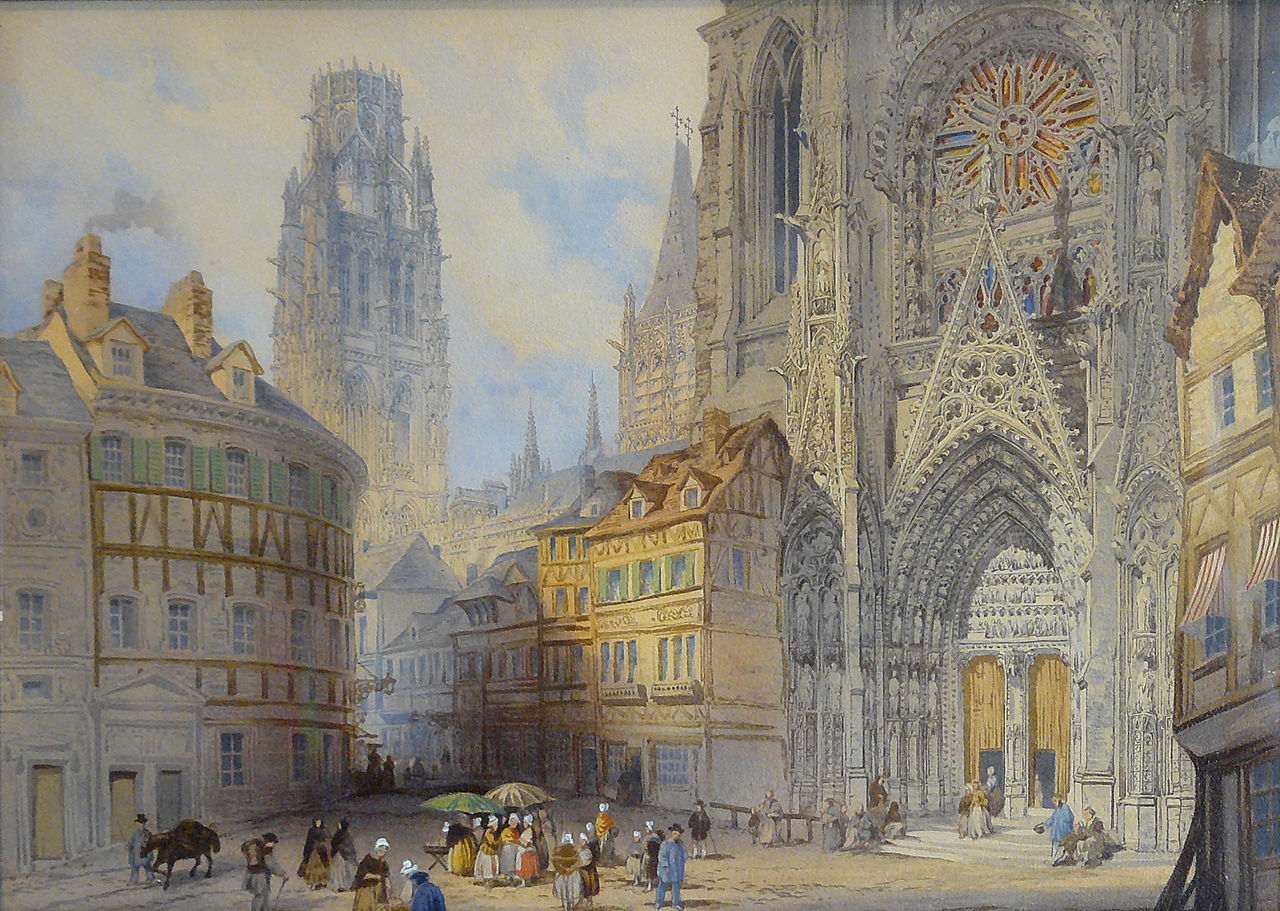 English school, 1st half of 19th Century - Watercolor - Vue de la Cathédrale de Rouen - ~28x37.5cm.jpg