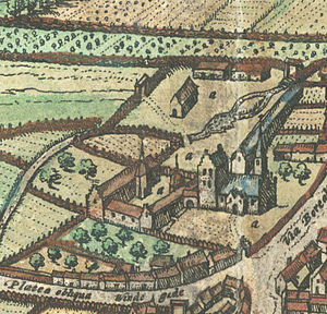 Odense Palace - The oldest depiction of Odense Palace, from Braunius' map of 1593. The towers contain the stairs.