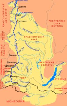 Куда впадает река енисей схема