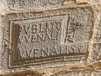 Walls of Segovia - Image: Epígrafe romano de PVBLICIVS IVVENAL